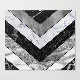 Shimmering mirage - grey marble chevron Canvas Print