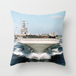 Aircraft Carrier Warship Throw Pillow