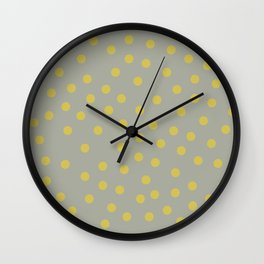 Simply Dots Mod Yellow on Retro Gray Wall Clock
