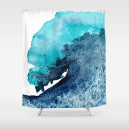 Tidal Wave - Abstract Ocean Watercolor Painting Coastal Art Shower Curtain