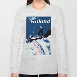 Vintage Finland Travel Poster Long Sleeve T-shirt