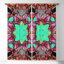 Aqua Red and Gold Star Mandala Magic Carpet Blackout Curtain