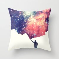 night Throw Pillows featuring Painting the universe by badbugs_art
