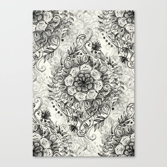 Messy Boho Floral in Charcoal and Cream  Canvas Print
