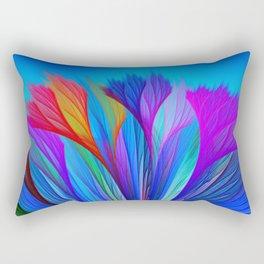 Flower Fantasy in Blue Rectangular Pillow