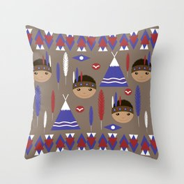 Seamless kids cute American indian native retro background pattern Throw Pillow