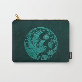Traditional Teal Blue Chinese Phoenix Circle Carry-All Pouch