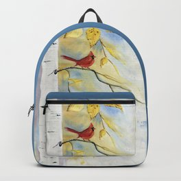 Cardinal on birch Tree Backpack