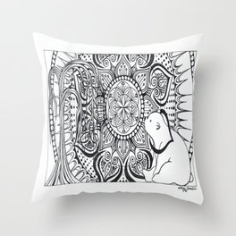 Polar Bear Mandala by Lady Lorelie Throw Pillow