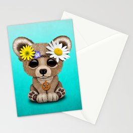 Cute Baby Bear Hippie Stationery Cards