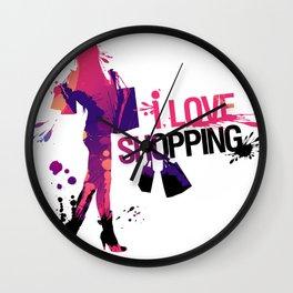 I Love Shopping Wall Clock