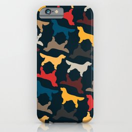 Golden Retriever Silhouettes - Colorful Pattern iPhone Case