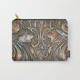 Golden Brown Carved Tooled Leather Carry-All Pouch