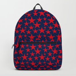 Red stars on bold blue background illustration Backpack
