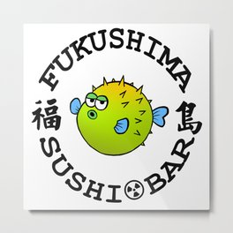 Sushi Bar (White/Black) Metal Print
