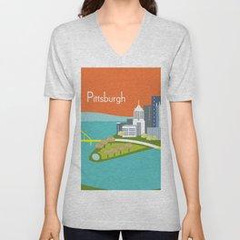 Pittsburgh, Pennsylvania - Skyline Illustration by Loose Petals Unisex V-Neck