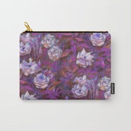 White roses, purple leaves Carry-All Pouch