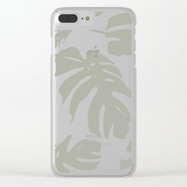 Simply Retro Gray Palm Leaves on White Clear iPhone Case