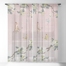 Butterflies and pear blossoms E : Minhwa-Korean traditional/folk art Sheer Curtain