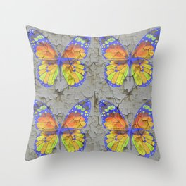 SHABBY CHIC YELLOW & BLUE BUTTERFLIES Throw Pillow