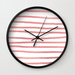 Simply Drawn Stripes Warm Rose Gold on White Wall Clock