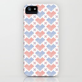 Hand Drawn Embroidery Love Heart Stitches Seamless Vector Pattern iPhone Case