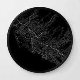 Honolulu Black Map Wall Clock