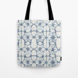 Simply Shibori Stars in Indigo Blue on Lunar Gray Tote Bag