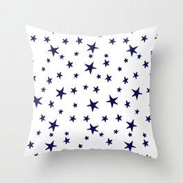 Stars - Navy Blue on White Throw Pillow