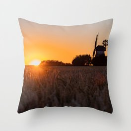 North German windmill from old time in the sunset Throw Pillow