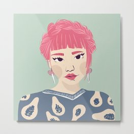Pink Haired Asian Girl Portrait - Papaya Pattern - Braid Crown - Winged Eyeliner Metal Print