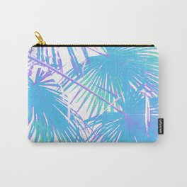 Graphic illustration of palm leaves branches in blue on white Carry-All Pouch