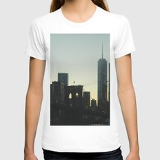 New York City Skyline at Dusk White SMALL Womens Fitted Tee