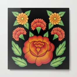 Mexican Folk Pattern – Tehuantepec Huipil flower embroidery Metal Print