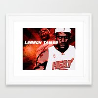 lebron Framed Art Prints featuring Lebron James: #4 Hall of Fame Series by Sifa + Graphic Designer