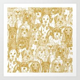 dogs aplenty gold white Art Print