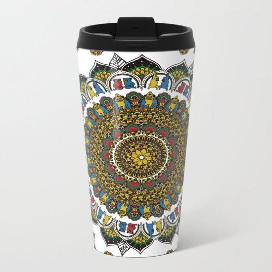 Pugs Yoga Mandala Metal Travel Mug