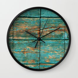 Rustic Teal Boards (Color) Wall Clock