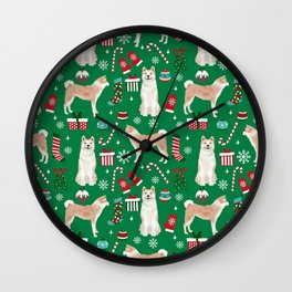 Akita christmas dog breed pattern snowflakes mittens candy canes stockings Wall Clock