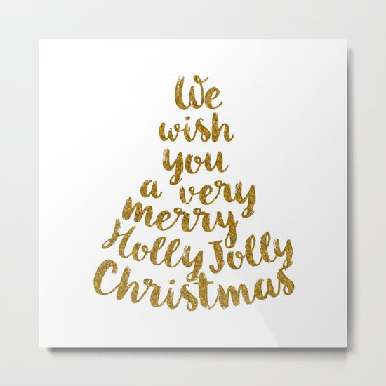 Holly Jolly Christmas - Gold glitter Typography Metal Print