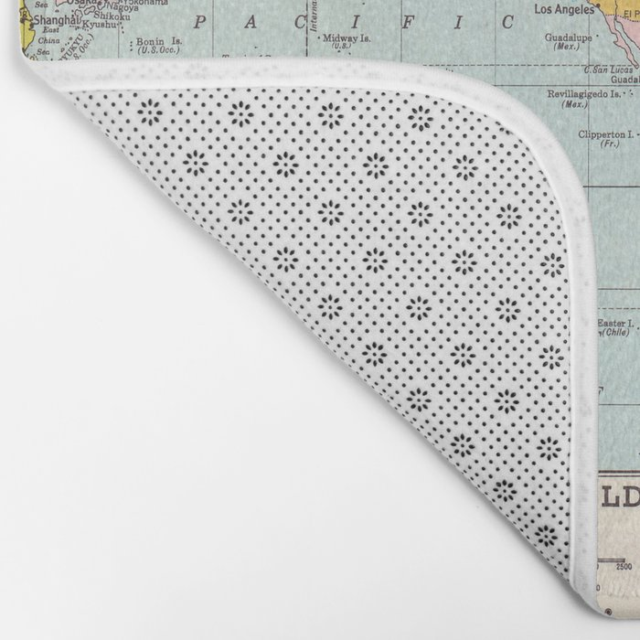 Midway On World Map.World Map Bath Mat By Catherineholcombe Society6