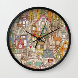 vintage gingerbread town Wall Clock