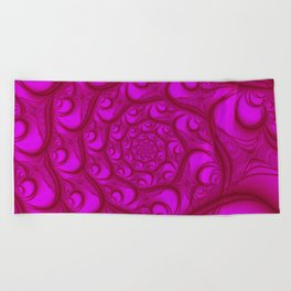 Fractal Web Red on Pink Beach Towel