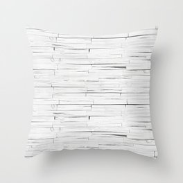 White Wooden Planks Wall Throw Pillow