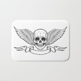 Vintage monochrome logo template with skull and eagle wings with ribbon isolated vector illustration Bath Mat
