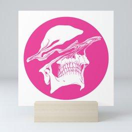 Liquify skull in hot pink Mini Art Print