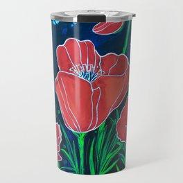 Stylized Red Poppies Travel Mug