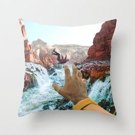 Falling in the River-Surreal Desert-Southwest Vibes Throw Pillow