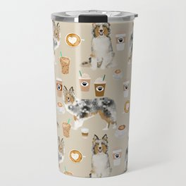 Shetland Sheepdog blue merle sheltie dog breed coffee pattern dogs portrait sheepdogs art Travel Mug