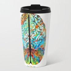 Colorful Brain Art - Just Think - By Sharon Cummings Travel Mug